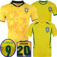 톱 1998 브라질 홈 축구 유니폼 2002 Brasil 레트로 클래식 셔츠 Carlos Romario Ronaldo Ronaldinho Jersey Camisa de Futebol 1994