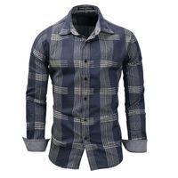 Erkek Tasarımcı gömlek 2019 Yeni Bahar erkek% 100% Pamuk ekose gömlek Casual Uzun Kollu Gömlek Denim tarzı Yıkanmış mens elbise gömlek