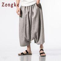 Zongke 중국어 스타일 크로스 바지 남자 의류 2018 힙합 조깅 남자 바지 발목 길이 일본어 Streetwear 바지 5XL