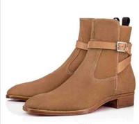 Caldo Toe Vendita-Fashion Plain stivali in camoscio camoscio Blended Tessuti uomo Plain Stivaletto in pelle di alta qualità inferiore rossa Kicko Stivaletti caffè