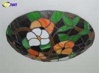 """FUMAT 16 """"Pastoral Çiçekler Lamba Retro Avrupa Tarzı Vitray Tavan Işık Yatak Odası Yemek Odası Mutfak Için LED Sanat lamba"""