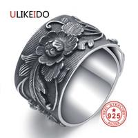 ULIKEIDO real 999 Partido amante anéis de prata para as mulheres Homem Sterling Flor Thai Vintage Jóias de Prata Unisex presente Largo Tamanho Belas CJ191128
