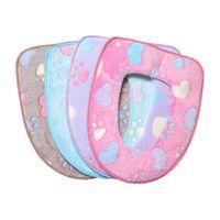 Toptan 4 Renk Çiçek Baskı Sıcak Rahat Mercan Kadife Klozet Kaideye Pan Yastık Pedleri Banyo Dekorasyonu Kapakları DH0461