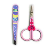 24set / profesional de la porción de ceja Pinzas tijera pestañas recorte de pelo Tip / Slant Tip / piso Curva pequeña tijera de cejas maquillaje de accesorios para herramientas