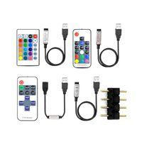 5V LED 스트립 Accesssories RGB / 싱글 컬러 컨트롤러 4 핀 커넥터 3Key / 17Key RF / 24Key IR 원격 USB LED 스트립 빛