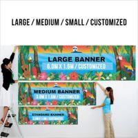 Kostenlose Dropshipping-Sonderkunde Jede Größe / Farblogo Sport Outdoor 2x8FT / 60x2440cm Fertigen Sie Banner-Tüllen mit gestrickten Polyester-Materialien besonders an