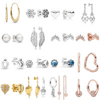 2019 NEW 100% 925 Sterling Silver pandora Rose Gold Polished Crown O Clear Sparkling Crown Stud Earring Fit DIY Women Original Jewelry