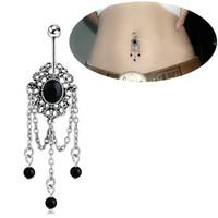 Quasten Diamant Edelstein chirurgischer Stahl Nabel Ringe Zirkon Langhantel Bauchnabel Ring Piercing Schmuck Accessoires für Frauen