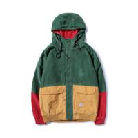 Hombres Color del resorte remiendo del bloque del pana chaquetas con capucha de los hombres de Hip Hop sudaderas Coats masculino ocasional caliente de la venta prendas de vestir exteriores de Calle