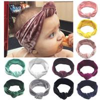 Nouveau-né Bandeau élastique velours bébé Turban Knot bande de cheveux Filles Head Wrap