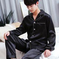 2019 Homens Pajama Define manga comprida Outono Silk Pijamas For Men Suit Pijama homem Verão duas peças pijama