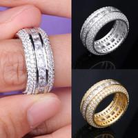 Nouveau mode or blanc 18 carats d'or Blingbling CZ Zircon Ensemble complet Finger Bague Luxe Hip Hop Bijoux de diamant Bague pour Hommes Femmes