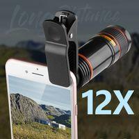 12X câmera do telefone Lens Monocular Telescope longo Foco Lens 0.45X Grande Angular macro Lens Universal para Câmera Digital Mobile Phones novos