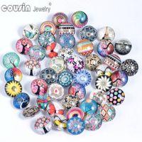 50 pçs / lote cores misturadas padrão multi 18mm botão de pressão de vidro jóias facetadas vidro Snaps Fit Snap pulseira de jóias de gengibre