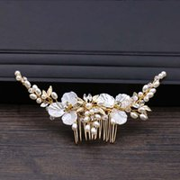 Joyería de la hoja de cristal de oro joyería del pelo Peines novia tiaras Celada de peine del pelo de las mujeres pelo de la boda accesorios nupciales SL
