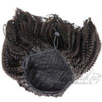 브라질 4A (b) (c) 140g 천연 블랙 호스 테일 아프리카 변태 곱슬 스트레이트 탄성 밴드 레미 처녀 인간의 머리카락 확장 졸라 매는 끈 포니 테일