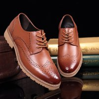 Men Classic Carved Leather Brogue Shoes Men' s Casual La...