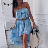 Simplee Loose Women Sexy vestido sem alças sólida fora do ombro fêmea elegantes vestidos de férias senhoras praia midi 2020
