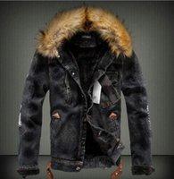 Se lavan los hombres del diseñador del invierno Jean chaquetas otoño grueso abrigos de pieles Manga larga solo pecho chaqueta