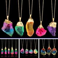 Irregular arco iris de piedra natural de cristal de cuarzo colgantes collares para mujeres Drusy Druzy cadena de color oro collar llamativo joyería
