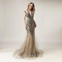 2020 formal vestidos de la celebridad de la sirena de la cremallera de longitud de Crystal rebordear Robe de soirée de manga larga de la alfombra roja del vestido LX430