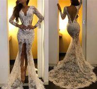Vinatge lange Ärmel Meerjungfrau Prom Kleider Sexy Backless Arabisch Design Abendkleid Günstige volle Spitze Formale Party Pageant Brautjungfer Kleid