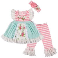 Cute Baby Girls Clothing Set Kids Lace Sleeves Pink and Blue...