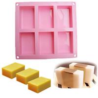 6 cavités du savon de silicone moule carré savon silicone moule gâteau moule de cuisson Pan Biscuit au chocolat Ice Cube Tray Tools Cake
