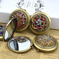 Espejo de bolsillo del maquillaje del metal 1pc Bronce espejo plegable portátil de aumento hueco de doble cara espejo de estilo retro herramientas del maquillaje