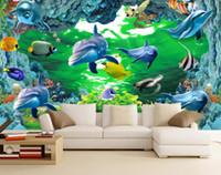 العرف خلفيات 3d ثلاثي الأبعاد 3d دولفين حلم المغمورة العالم تشايلد التلفزيون الأريكة خلفية جدار غرفة المعيشة جدارية 3d خلفيات