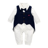 baby boy clothes swallow- tailed coat vest+ baby romper 2pcs N...