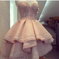 Peach Pink Cocktail Celebrity Evening Dresses Mini Sweetheart Sleevesless Backless Layers Short Party Prom Dress Vestidos BA6936