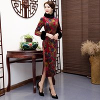 جملة جديدة وصول اللباس الرسمي الصينية التقليدية المرأة الطويلة تشيباو شيونغسام الجلد المدبوغ القطن الجدة الصينية الحجم M L XL XXL 3XL 4XL