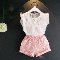 Summer Sweet Baby Girl Clothes Set White Cotton Top Shirt Em...
