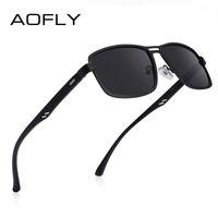 AOFLY Marke 2020 Art und Weise polarisierte Sonnenbrille Männer quadratisches Metallrahmen Männlich Sonnenbrillen Fahren Angeln Brillen zonnebril heren