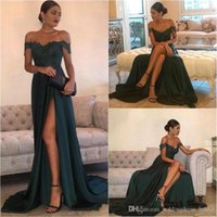 Dark Green 2019 Sexy Prom Dresses A Line Off the Shoulder Fl...