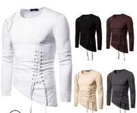 Мужские дизайнерские футболки Slim Fit Нерегулярные Дизайнерские футболки с длинными рукавами 2019 Модная осенняя повязка с круглым вырезом Футболка большого размера