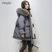 Fitaylor grande Chaqueta de piel natural con capucha mujeres del invierno 90% de pato blanca gruesa capa caliente Parkas Banda Implique la nieve