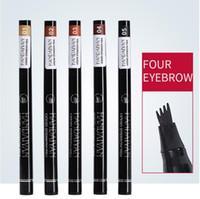 Handaiyan Eyebrows 4 포크 마이크로 조각 액체 눈썹 연필 블랙 브라운 방수 색조 눈썹 문신 펜 눈썹 향상제