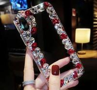 iPhone 11MAX 7 8plus XR X MAX için Samsung Lüks Elmas Bling Bling Telefon Kapaklar Tam Protevtion Temizle Geri Rhinestone Tampon Kılıflar