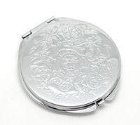 Espejos compactos Silver Tone Flower tallado Make Up Mirror Pocket Espelho de Maquiagem 6.6x6.2cm 1pc