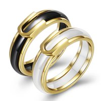 Fashion Black White Ceramic Couple Rings For Women Men Weddi...