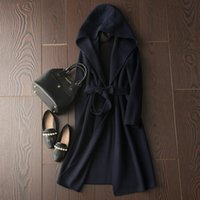 2019 autumn and winter cashmere coat female hooded cashmere ...