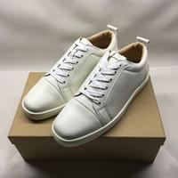 حار بيع- توقيع أحذية رياضية المنخفضة قطع المسامير الشقق أحذية الأحمر أسفل causual أحذية للرجال والنساء مع مربع