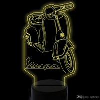 Presente Xmas Lamp LED 7 cores mudando 3D Visual Scooter Led Night Lights For Kids Touch USB Lampara Motorcycle Desk Lamp Home Decor Lighting