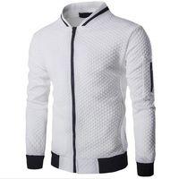 Mens Veste Homme Bomber Fit Casaco Com Zíper Argyle Jaqueta Casual 2019 Outono Nova Tendência Moda Branco Jaquetas Masculinas Roupas