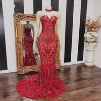 Modernos larga del rojo de la sirena de baile vestidos de novia 2020 de las mujeres de África Chica Negro lentejuelas vestido de noche por encargo