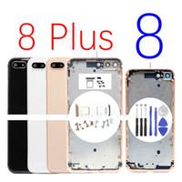 IPhone 8G 8 Artı Arka Pil Kapı Cam Tam Konut Orta çerçeve Paneli Kapak Şasi Yan Düğmeleri SIM Tepsi Logo ile Değiştirme