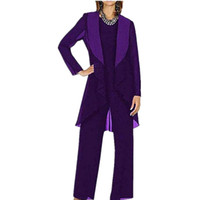 Chiffon Mother Of The Bride Pants Suit Long Sleeves Mother&#...