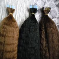 Tape In Hair Extensions Sélectionnez Couleur de la colle sur les extensions de cheveux 100% gros yaki réel Remy cheveux humains 40PCS brazilian crépus Tape droit